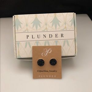 Plunder Kellyanne Earrings - Black druzy studs
